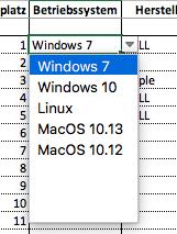 Dropdownliste am Beispiel des Betriebsystems