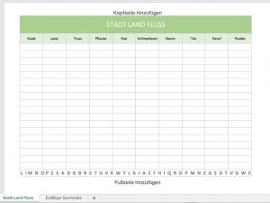 Stadt Land Fluss mit Excel