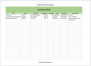 Bücherliste mit Excel