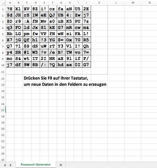 Kennwort-Generator mit Excel