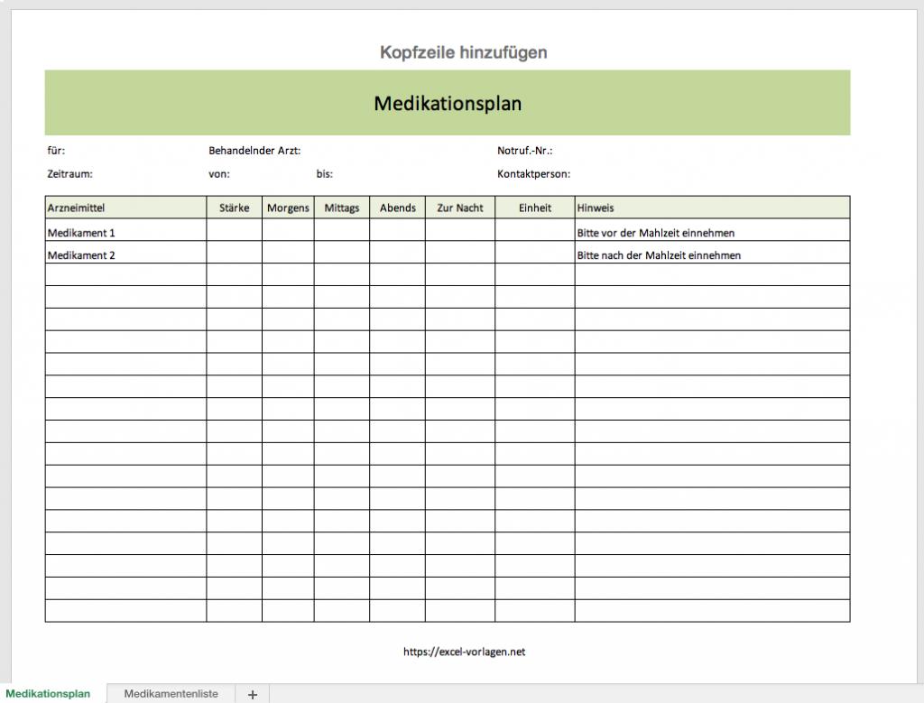 Excel Medikationsplan