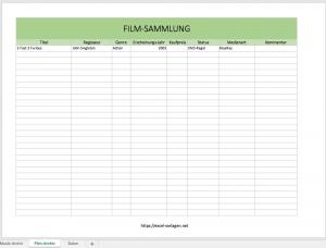 Excel Filmsammlung