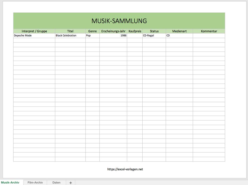 Excel Musikdatenbank