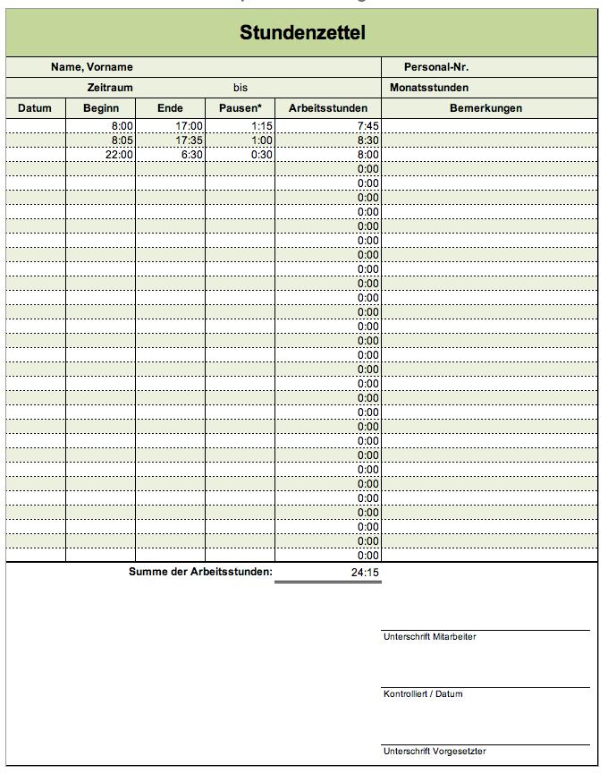 Stundenzettel Vorlage Zeiterfassung Time Tracker Timtimer 3