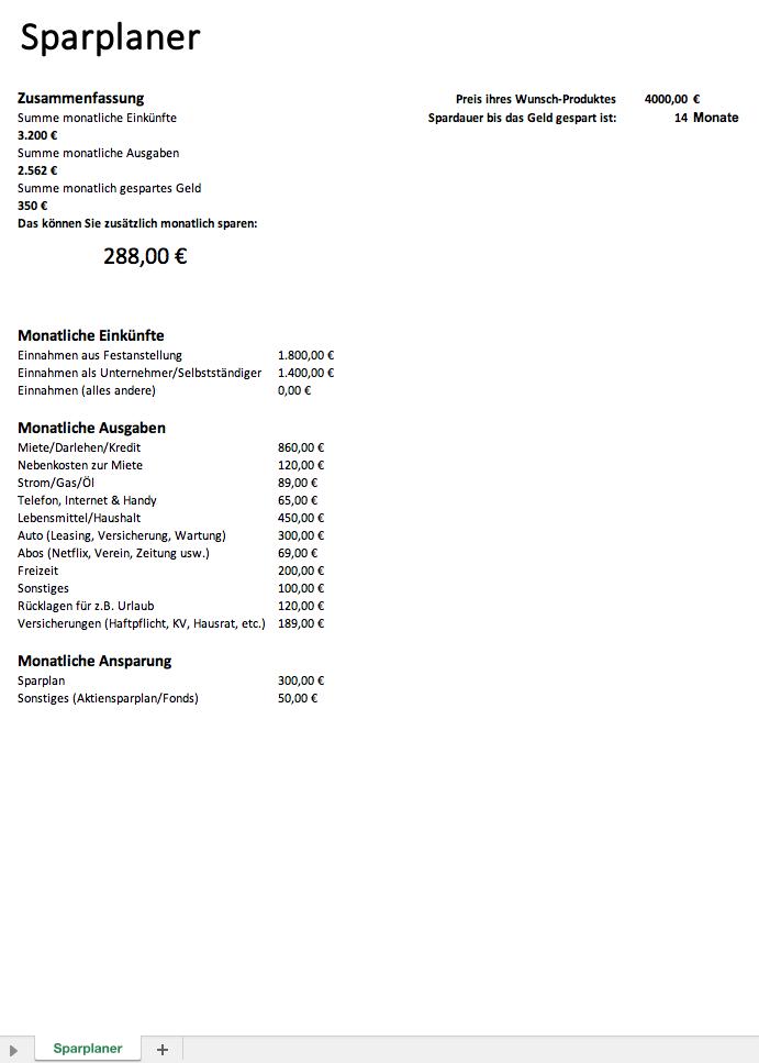 Sparplan Excel