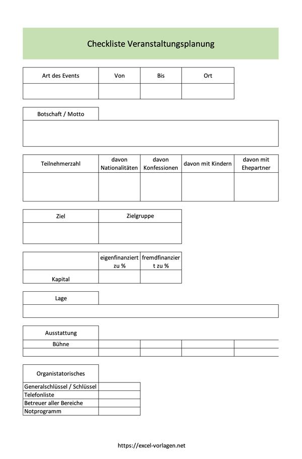 Veranstaltungsplanung Checkliste