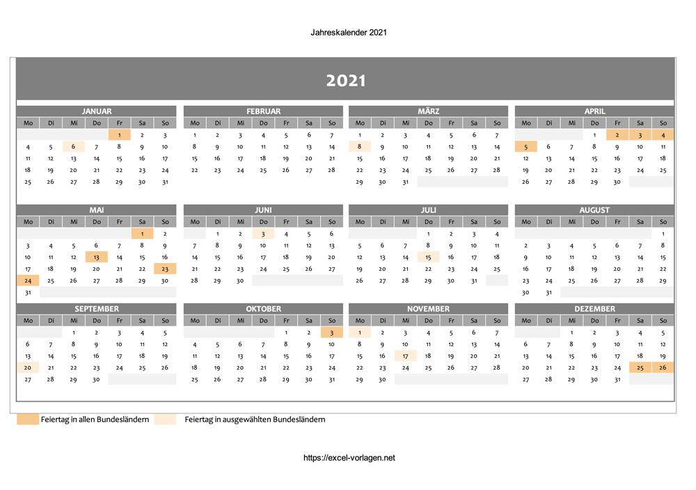 Jahreskalender 2021 mit Feiertagen - Vorschaubild