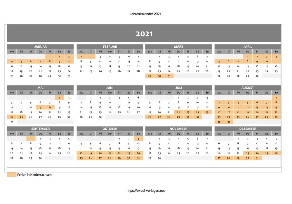 Jahreskalender mit Ferien für 2021 - Vorschaubild