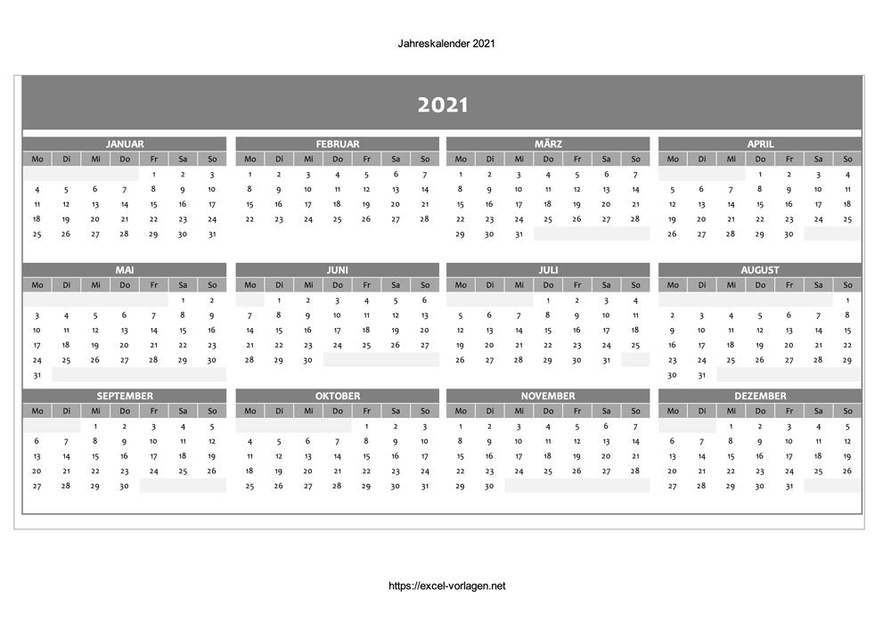 Jahreskalender 2021 - Vorschau