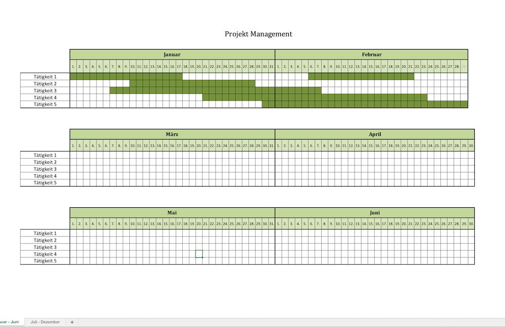 Projektmanagement Excel