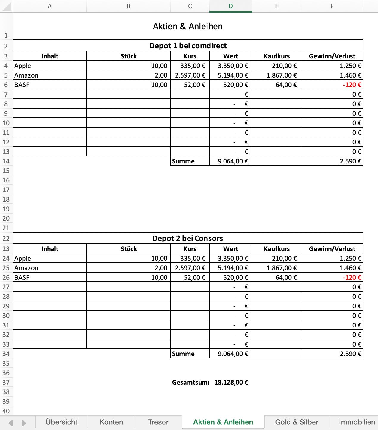 Vermogensaufstellung Mit Excel