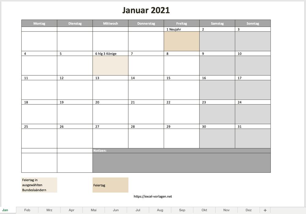 Monatskalender 2021 Als Excelvorlage