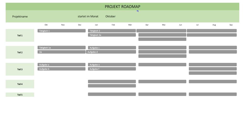 Vorschau auf die Excelvorlage Roadmap