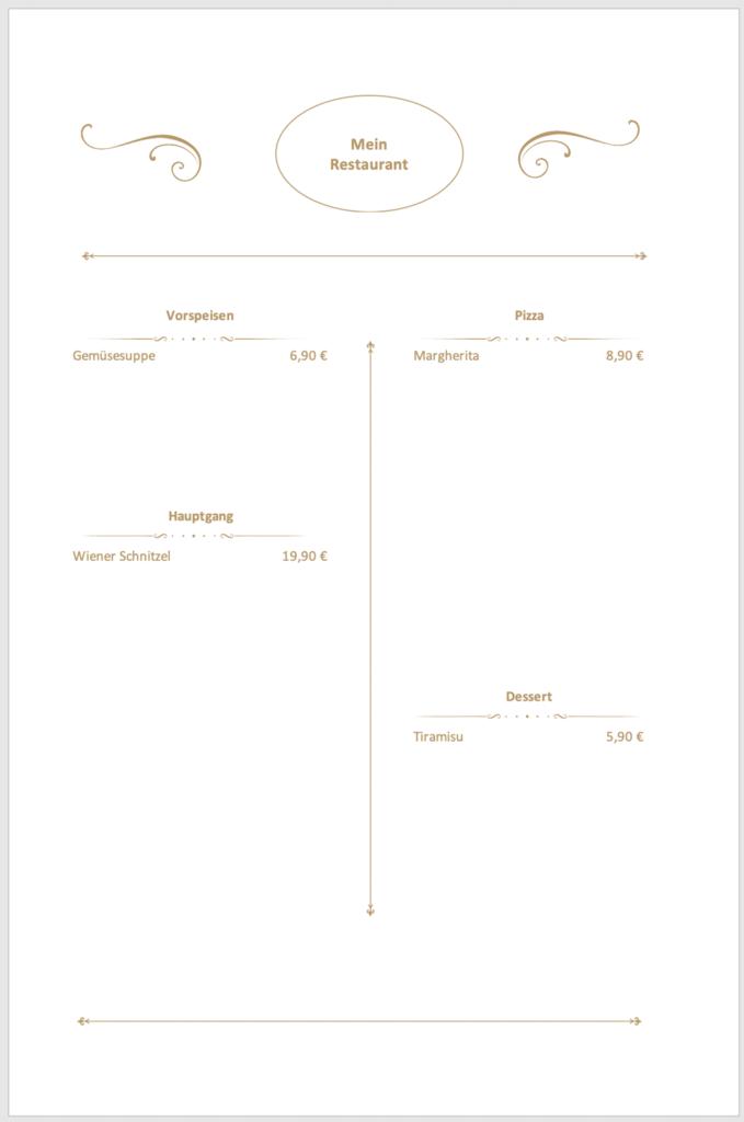 Vorschau auf die Speisekarte als Excel-Vorlage