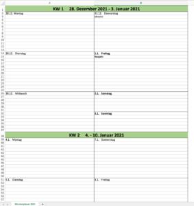 Wochenkalender 2021 Vorschaubild