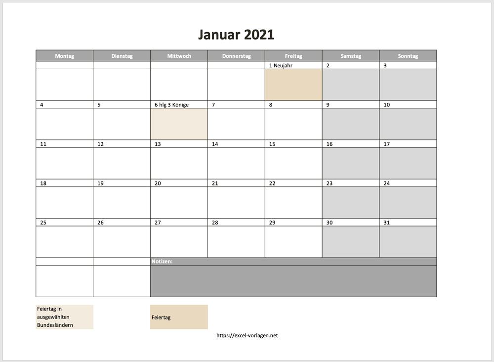 Einzelne Monate 2021 für die Jahresplanung mit Excel