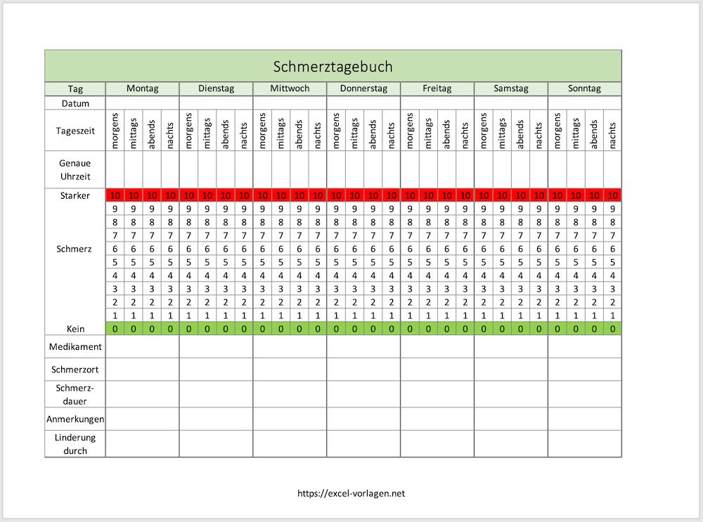 Schmerztagebuch - Screenshot aus Excel heraus
