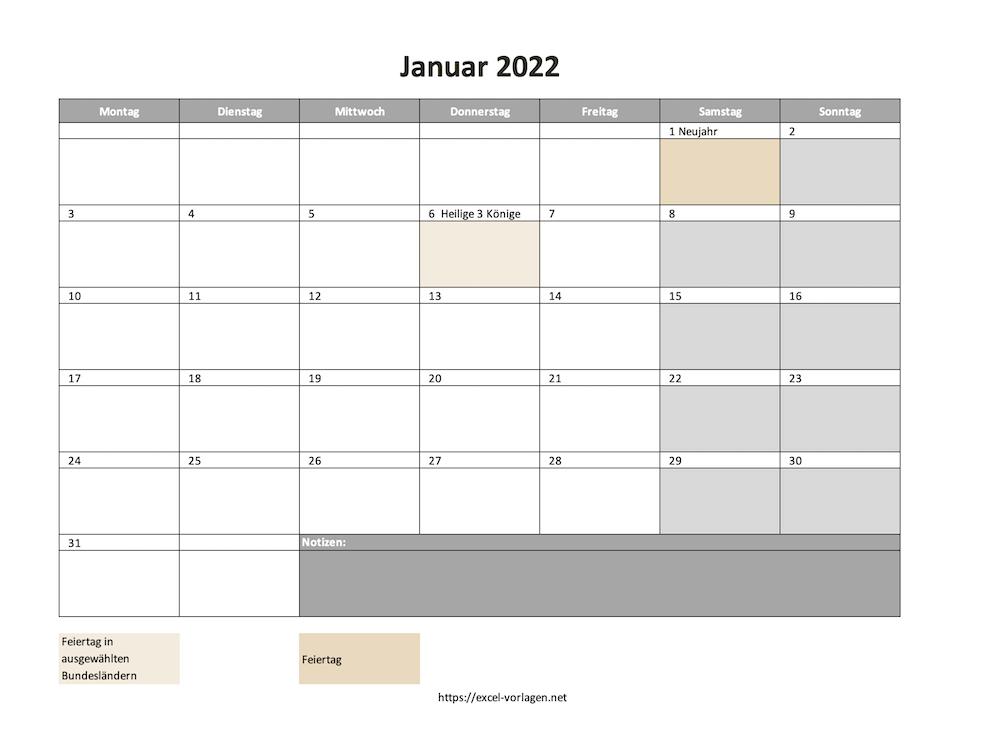 Monatskalender 2022 als Excelvorlage oder als PDF