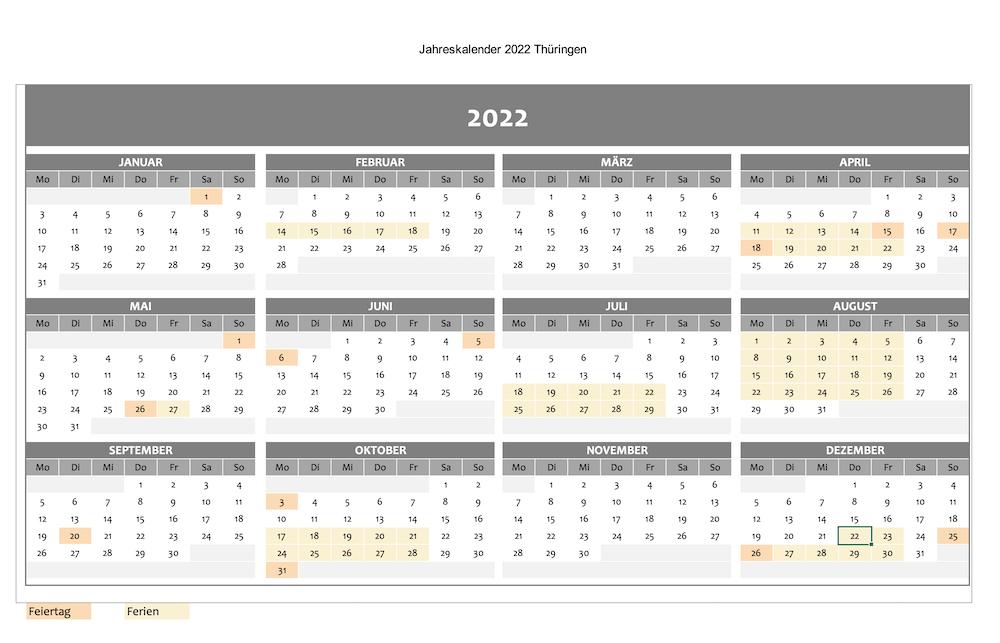 Jahreskalender 2022 mit Ferien und Feiertagen am Beispiel Thüringen als Excel-Datei