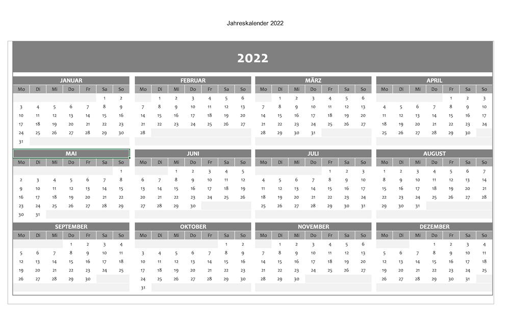Jahreskalender 2022 - Excel-Vorlage