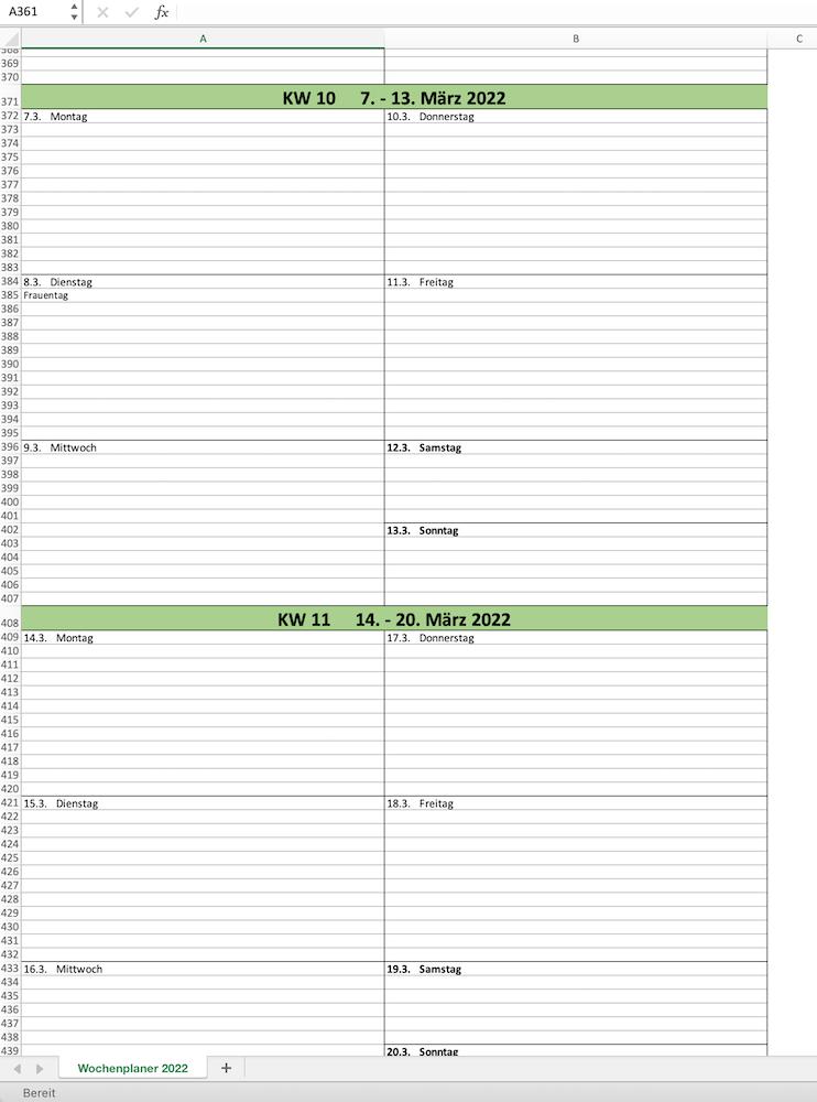 Wochenkalender 2022 in Excel