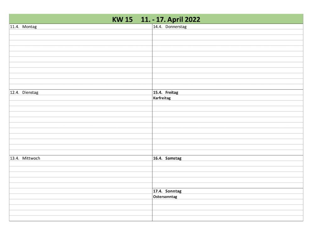 Seitenansicht des Kalenders für 2022